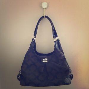 COACH Black Madison Op Art Maggie Hobo Handbag